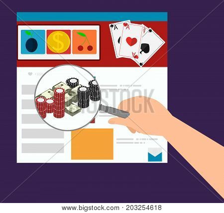 Hand holding a magnifying glass and magnify online casino web site. Casino flat design applications on a screen.  Flat design banner jackpot pockie dice roulette games flat illustration. -stock vector