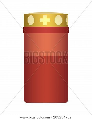 Vector realistic illustration of a burning candle suitable for the holiday of the day of all saints or in the grave