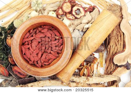 Traditional Chinese medicine tool with medicine.