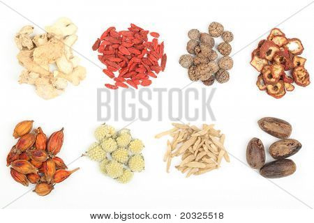 Pile of Traditional Chinese Medicine isolated on white background.