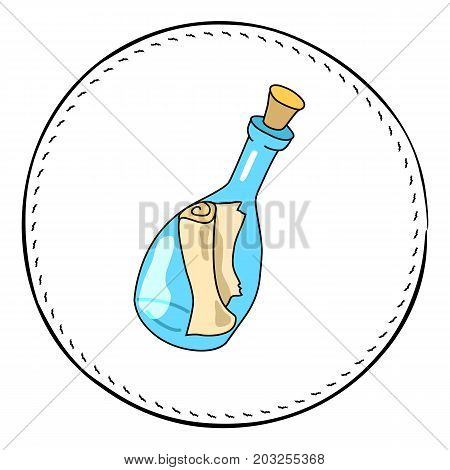 Message in bottle isolated on white background. Mail in bottle cartoon vector illustration. Seashore finding handdrawn patch. Beach bottle mail clipart. Message in bottle icon. Paper scroll in glass