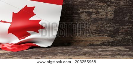Canada flag on a wooden background. 3d illustration