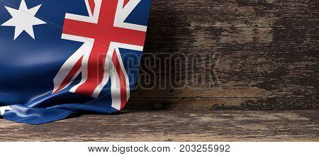 Australia flag on a wooden background. 3d illustration