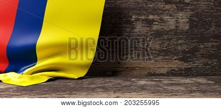 Colombia flag on a wooden background. 3d illustration