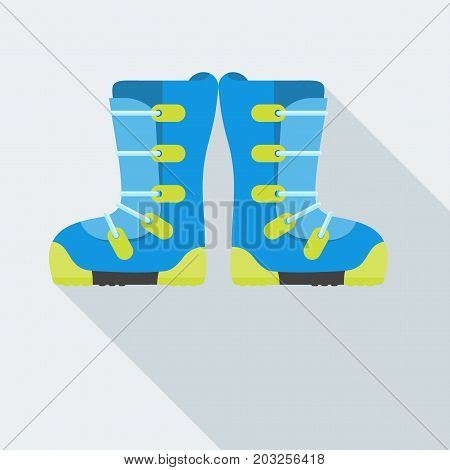 Flat design vector illustration of snowboard boots icon. Winter sports. Outfit, clothing, accessories for skiing, snowboarding. Holidays in mountains, active lifestyle. Isolated on white background.