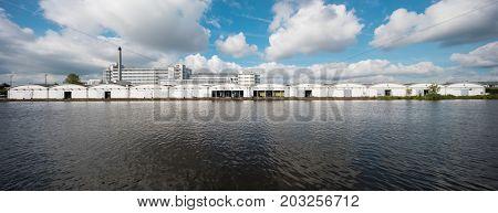 Dutch industrial landscape Rotterdam, Holland