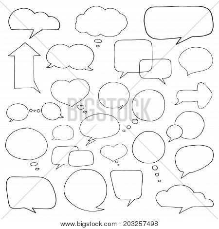Set of different speech balloons. Vector illustration in a sketch style.