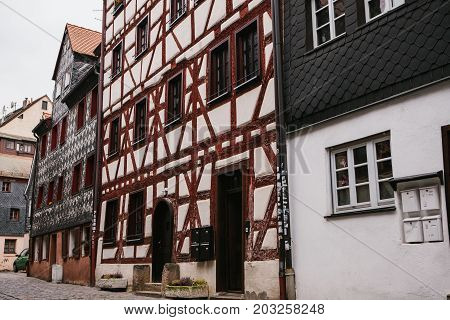 Traditional houses in German style in the city of Furth in Bavaria. German architecture of houses. Europe.