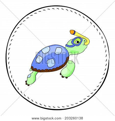 Snorkel turtle isolated on white background. Sea turtle cartoon vector illustration. Underwater tortoise round patch. Cartoon turtle snorkeling. Nursery clipart with tropical sea animal. Marine fauna