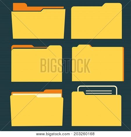 Documents folder icon set. Business document concept. Vector office organize tool
