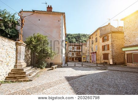 Street view with ancient buildings in Blesle village in Auvergne region, France