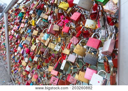 Salzburg, Austria - December 25, 2016: Bridge of locks with love padlocks in Salzburg, Austria