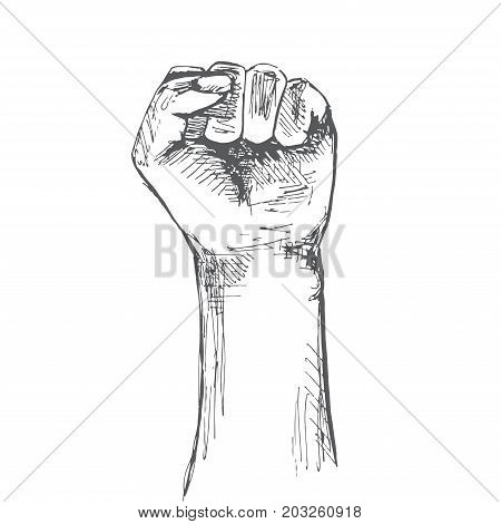 Hand clenched into a fist. Gesture of strength. Illustration in sketch style. Hand drawn vector illustrations.