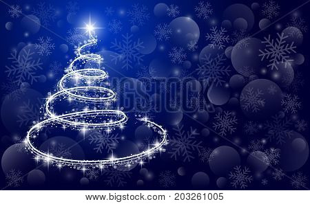 Template holiday card in vector - Christmas tree on a blue background