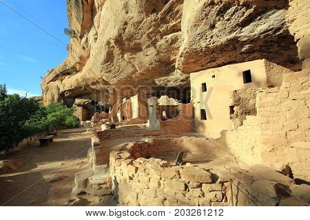 Ancient Anasazi Cliff Dwellings in Mesa Verde Colorado United States