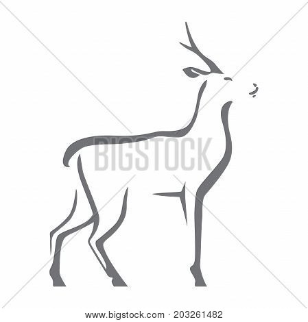 Roe deer vector image isolated on white background. Silhouette as logo or mascot. Stylized symbol.