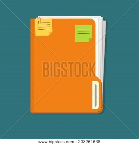 Documents folder icon with paper sheets and note reminder sticker. Business document concept. Vector office organize tool