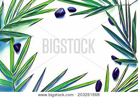 Fresh leaf and pebbles on blank background. Tropical leaf ornament on table top view. Bamboo leaf with seashore pebbles