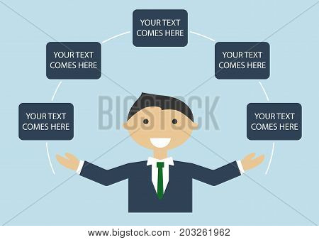 Vector illustration of happy light skin business man in suite spreading his arms. Infographic template with text