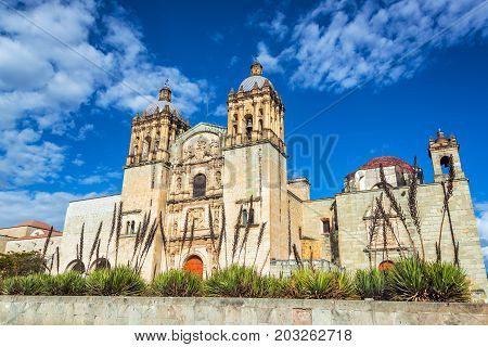 Beautiful Santo Domingo church and agave plants in Oaxaca Mexico