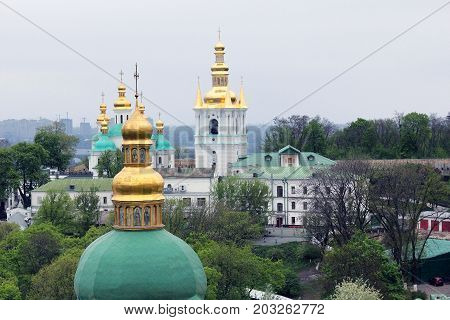 KIEV, UKRAINE - MAY 3, 2011: This is an aerial view of the buildings of the lower part of the Kiev-Pechersk Lavra.