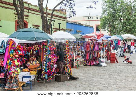OAXACA MEXICO - MARCH 4: Row of shops selling arts and crafts in Oaxaca Mexico on March 4 2017