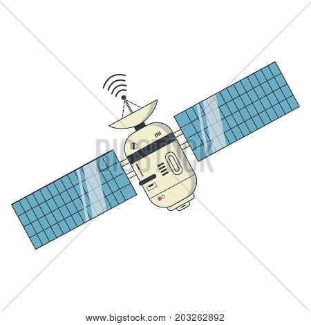 Earth satellite network provider banner. Communication satellite with solar panels and dish with the antenna. Vector Illustration