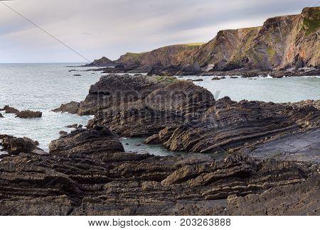 Rocky seashore in the county of Devon. Hartland Quay. UK