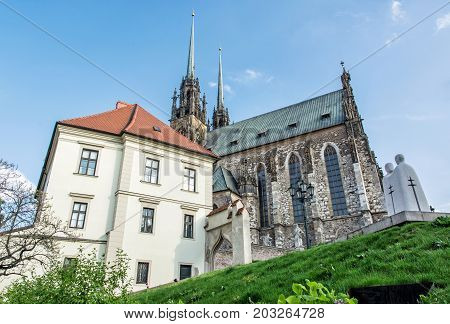 Famous Cathedral of St. Peter and Paul Brno Moravia Czech republic. Travel destination. Religious architecture.
