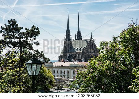 Cathedral of St. Peter and Paul in Brno Moravia Czech republic. Religious architecture. Beautiful place.