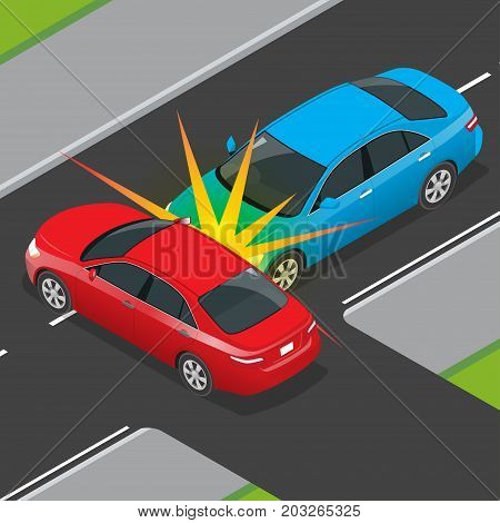 Isometric Traffic Accident involving two vehicles on the road. Car crash template vector flat style. Car crash banner