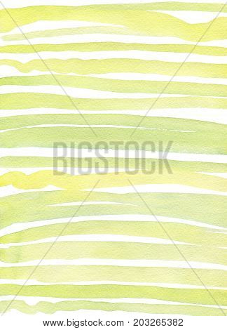 Abstract creative stylish stripes in greenery colors brush strokes. Design wave, image lines paper texture. Hand drawn watercolor painting on white background. Design for fabric, wrap paper.
