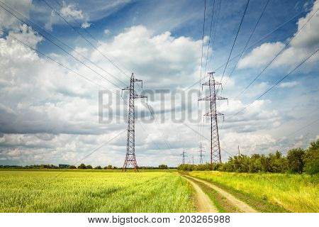 High voltage lines and power pylons in a green field