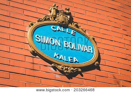 Street Sign In Spain Which Is Written Simon Bolivar Street