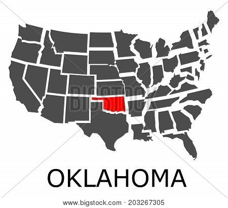 State Of Oklahoma On Map Of Usa