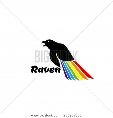 Logo black raven with colored wing on a white background.