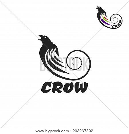 Black crow logo on a white background. Raven isolated. Vector illustration