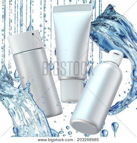 Design cosmetics product advertising in water splash on blue background. 3D illustration