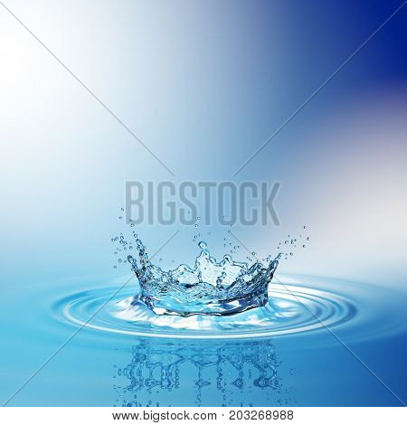 Water splash in dark blue color with a drop of water flying from above. 3d rendering