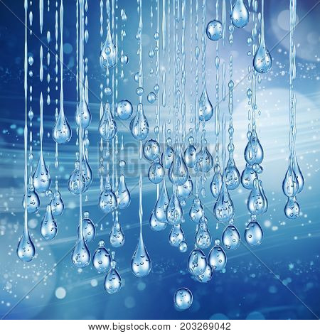3D detailed illustration of a drop of water. Blue background