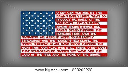 The American National Anthem stitched onto an American Flag.