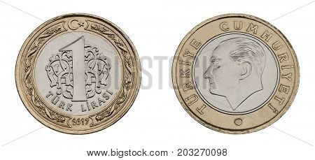 Turkish coin currency one lira made of 8,20 gram nickel and copper zinc alloy both sides isolated.