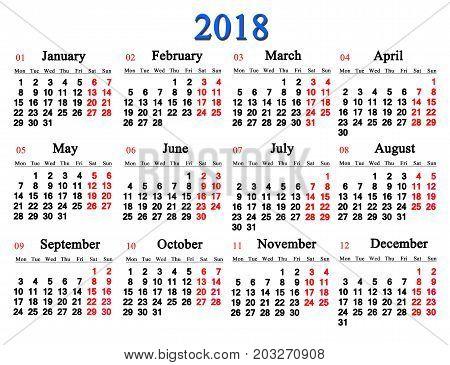 calendar for 2018 on the white background. Calendar for office life