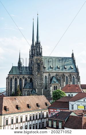 Cathedral of St. Peter and Paul Brno Moravia Czech republic. Religious architecture. Travel destination.