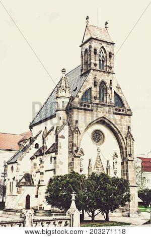 St. Michael chapel in Kosice Slovak republic. Architectural scene. Buttercream vintage filter.