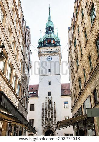 Old town hall in Brno southern Moravia Czech republic. Architectural scene. Travel destination.