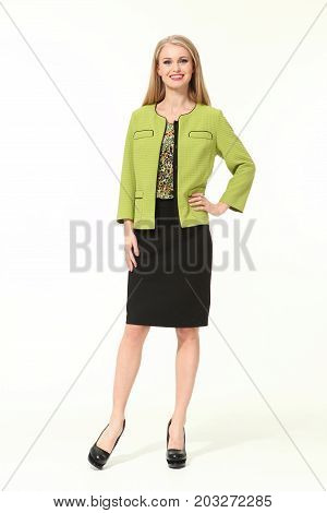European Business Woman In Official Autumn Clothes
