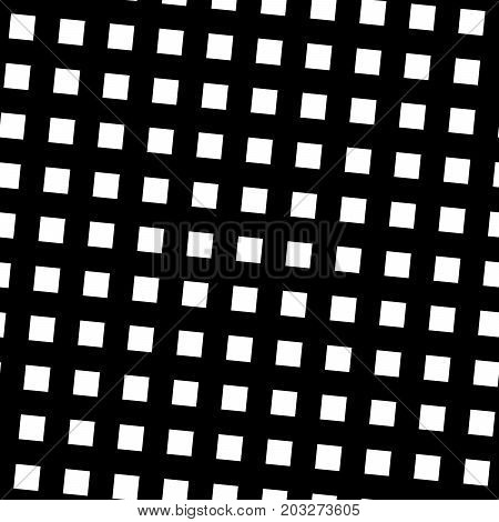 Seamless pattern slanting grid in black and white. Abstract retro design. Vector illustration.
