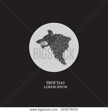 Ferocious wolf. White circle. Emblem, sticker. Vector image with text on black background. Design banners, icons for a website, for printing on fabric or on paper.