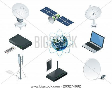 Isometric Wireless Technology and Global communication icons towers satellite antennas radio telescope router and Earth orbit space station GPS satellite isolated vector illustration World global net.